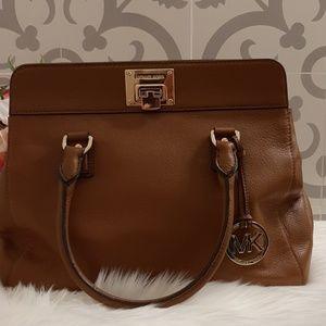 Michael Kors Astrid Brown Leather Large Satchel